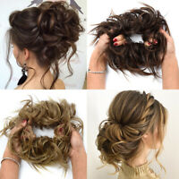 Large THICK Curly Chignon Messy Bun Updo Cover Hair Extensions Chic Hiarstyle