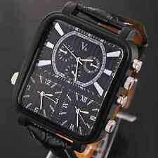 NEW HOT Russia Military Men Wrist Watch 3 time zone Quartz Analog Leather watch
