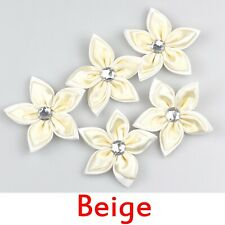 15/25Pcs Beige Satin ribbon flowers bows with Appliques Craft DIY Wedding