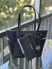 Michael Kors Charlotte Black Signature Leather Large Top Zip Tote Handbag Bag