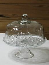 Vintage Windsor Federal Button & Cane Cake Pedestal with Glass Dome Cover Mint!!
