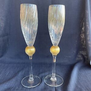 Pair Union Street Glass Manhattan Gold Ball Crystal Champagne Flutes Signed