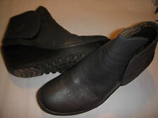 Fly London Yogi Leather Wedge Heel Booties Ankle Boots 37 Graphite Grey 6.5-7 M