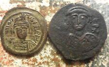 Lot of 2 Byzantine Coins Both Maurice Tiberius, 30 mm Follis & 27 mm Half Follis