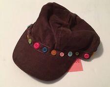 NWT Gymboree Lots of Dots Sz 5-7 Brown Button Corduroy Pageboy Cap Hat