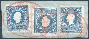 Österreich Kleines Briefstück mit 3x Mi.-Nr.15II Wien Recommandiert 19/6 1869