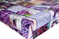 Purple Lavender Patchwork PVC Tablecloth Vinyl Oilcloth Kitchen Dining Table