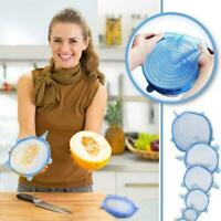 6PCS Stretch Reusable Silicone Bowl Wraps Food Saver Cover Seal LIDS SET New