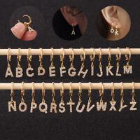 A-Z Letter Ear Piercing Huggie Hoop Drop Dangle Earring Crystal Zircon Jewlery