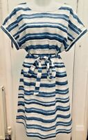 BNWOT Laura Ashley White Blue Striped Linen Loose Fit Tie Waist Summer Dress 14