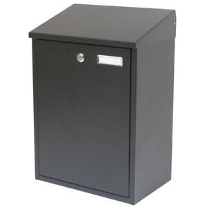 LARGE BLACK LOCKABLE OUTDOOR MAILBOX/POSTBOX LETTER/MAIL/POST BOX HOUSE WALL