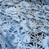 Baby Blue 3D Guipure Lace Fabric Bridal Lace Fabric Wedding Flora Lace Fabric