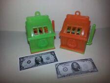 2 Mini Plastic SLOT MACHINE Lime/Orange CHARMS toy keychain souvenir arm moves