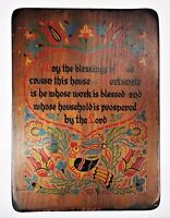 Painted Wood Vtg Sign Blessing God Fortunate Blessed Floral Birds Kitsch America