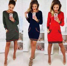 Women's Fashion Striped Long Sleeve Dress Casual Slim T-shirt Mini Dress Top M