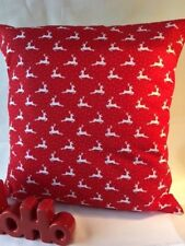 """Festive 16"""" x 16"""" Cushion Cover in Red with Snow and Reindeers"""