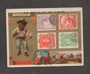 Mexico philatelic trade card, stamps of Argentina, Bolivia, and Peru.