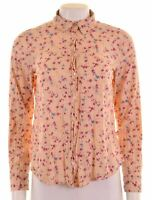 BENETTON Womens Shirt Size 10 Small Pink Floral Cotton Loose Fit  H212