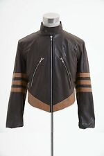 X-MEN 1 Origins Wolverine Brown Biker Leather Jacket Coat Costume Halloween