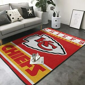 Kansas City Chiefs Area Rug Floor Carpet Super Soft Non-Slip Mat Home Decoration