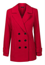 Polyester Button Coats & Jackets Peacoat for Women