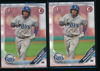 Lot of (2) WANDER FRANCO 2019 1st Bowman Draft Paper #100 Rays Rookie Card RC