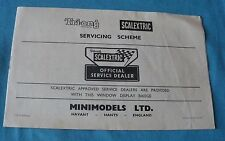 BROCHURE TRI-ANG SCALEXTRIC SERVICING SCHEME SLOT CAR CARS CIRCUIT BE