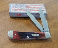 CASE XX New Crimson Barnboard Jigged Bone Handle 2 Blade Trapper Knife/Knives