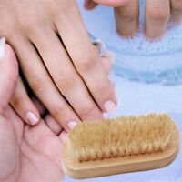 Hot! Double Sided Wooden Bristle Trimming Nail Brush Bath CleanerScrubbing Tools