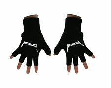 Metallica Gloves Classic Spiked Band Logo Official Fingerless Black One Size