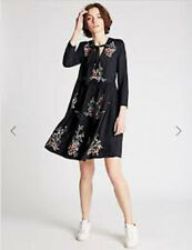 Cute Embroidered M&S Limited Edition Nay Skater Dress Size 12