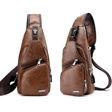 Men PU Leather Chest Cycle Sling Pack Satchel Shoulder Bag Small Day Packs Purse