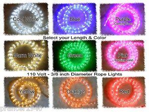 "LED Rope Christmas Light Strips - 3/8"" 110V - Warm or Cool White, Blue, Red"