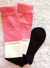 Señoras rodilla algodón de alta calidad Sexy Lolita calcetines Negro Rosa & Crema A Rayas