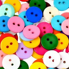 100x Mixed Colors Round Shape Resin Buttons 2 Holes Sewing Accessories DIY Decor