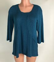 Habitat Clothes to Live In Womens Top Blue Black Geo 3/4 Sleeve SZ S NEW $69