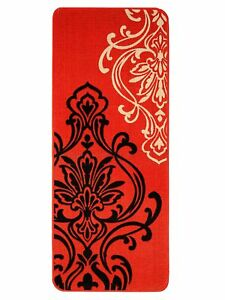 Handwoven Decorative Floral 45x120cm Bedside/Kitchen Runner Made Of Cotton-Red
