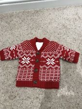 Brand New Without Tickets Boys First Size Cardigan Red/ White