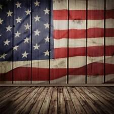 5x7ft Vintage American Flag Photography Backdrops Vinyl Wooden Floor Photo Props