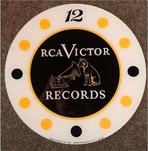 """*NEW*14.25"""" RCA VICTOR RECORDS ROUND GLASS FACE FOR PAM CLOCK MUSIC"""