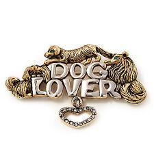 'Dog Lover' Brooch In Antique Gold Metal