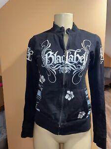 BLACK LABEL PINK Full Zip Graphic Hoodie 100% Cotton Black White Gray Size M