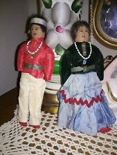 Antique Native American Dolls Man And Woman Hand Sewn