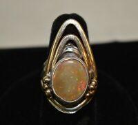 Vintage Handmade Southwestern Sterling Silver, 10K Gold, & Gemstone Ring Size 6