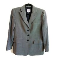 Womens Armani Collezioni Wool Linen Blend 3 Button Front Pocket Blazer Size 4