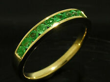 R165 Genuine 9K or 18K Gold Natural Emerald Ring Eternity Channel Wedding Band