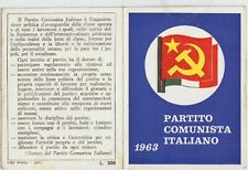 ITALY 1963 IDENTITY CARD, ITALIAN COMMUNIST PARTY. GROSSETO