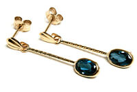 9ct Gold London Blue Topaz oval drop Earrings Made in UK Gift Boxed Birthday