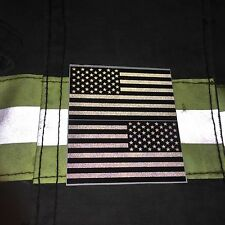 """Subdued Reflective American Flags Mirrored 3""""- DECAL"""