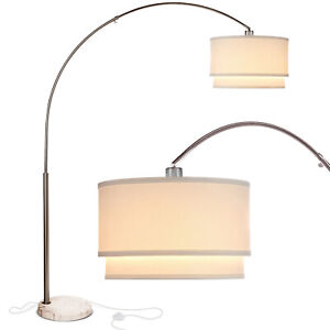 Brightech Mason Arc Floor Lamp with Hanging Drum Shade & LED Light Bulb, Nickel